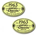 PAIR Distressed Aged Established 1963 Aged To Perfection Oval Design Vinyl Car Sticker 70x45mm Each